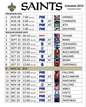 New Orleans Saints Schedule 2020 New Orleans Saints 2019 Season Schedule (Printable) | New Orleans