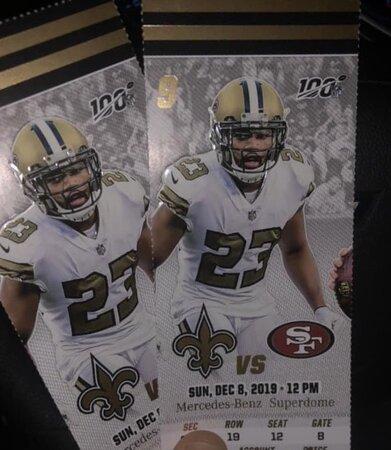 2 49ers Vs Saints Tickets New Orleans Saints